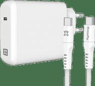XtremeMac Power Delivery Oplader 45W Wit + Usb C Kabel Nylon 2,5m Zwart Samsung opladers