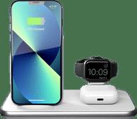 ZENS 3-in-1 Draadloze Oplader 10W met Standaard en Apple Watch Oplader Wit Draadloze oplader voor Apple Watch