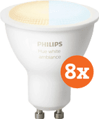 Coolblue-Philips Hue White Ambiance GU10 Bluetooth 8-Pack-aanbieding