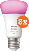 Philips Hue White & Color E27 10.5W 8-pack