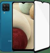 Samsung Galaxy A12 128GB Blauw + PanzerGlass Case Friendly Screenprotector Glas Zwart Smartphone met de beste batterij