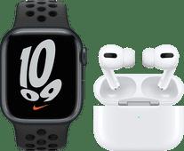 Apple Watch Nike Series 7 41mm Nachtblauw Aluminium Zwarte Sportband + Apple AirPods Pro