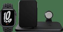Apple Watch Nike Series 7 41mm Nachtblauw Zwart Bandje + ZENS 3-in-1 Draadloze Oplader