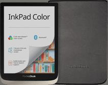 Coolblue-PocketBook InkPad Color Zilver + PocketBook Shell Book Case Zwart-aanbieding