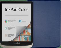 Coolblue-PocketBook InkPad Color Zilver + PocketBook Shell Book Case Blauw-aanbieding